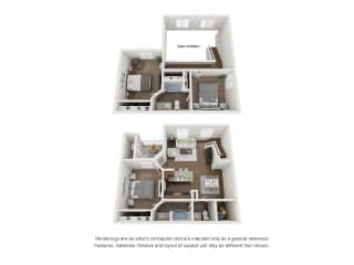 3 Bed 2 Bath Townhome 2 Floors3D Floor Plan