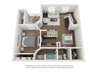 3 Bed 2 Bath Townhome First Floor 3D Floor Plan