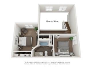 3 Bed 2 Bath Townhome 2nd Floor 3D Floor Plan