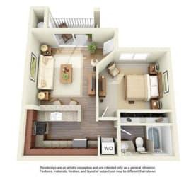 1 BED 1 BATH - A1 floorplan