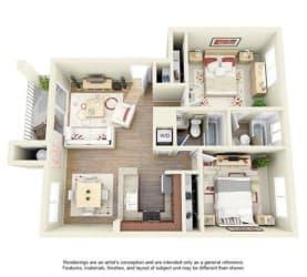 2 BED 2 BATH - B1 floorplan