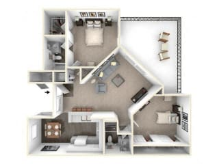2 bed 2 bath floor plan B2 RENOVATED