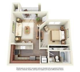 1 BED 1 BATH - A1R floorplan