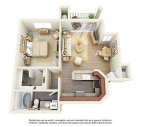 1 BED 1 BATH - A3R floorplan