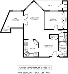 The Riverwood Apartments in Lilydale, MN 1 Bedroom 1 Bath Plus Den