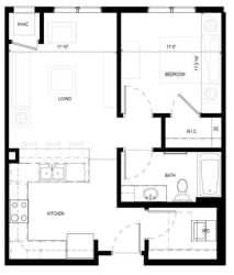 Gabella at Parkside Apartments in Apple Valley, MN One Bedroom One Bath Floor Plan, opens a dialog