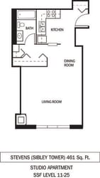 Stevens Floor Plan Galtier Towers Apartments in Lowertown, St. Paul, MN Studio Apartment