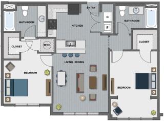 Edison at Riverwood 2 Bedroom 2 Bathroom (Hopper)