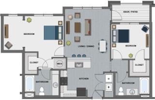 Edison at Riverwood 2 Bedroom 2 Bathroom (Lamarr)