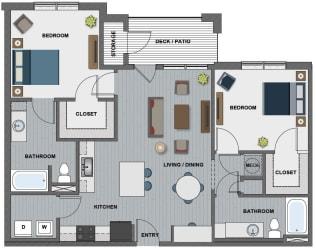 Edison at Riverwood 2 Bedroom 2 Bathroom (Whitney II)