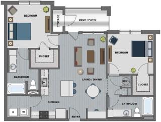 Edison at Riverwood 2 Bedroom 2 Bathroom (Whitney)