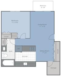 1 Bed 1 Bath 600 sq ft 2D floor plan