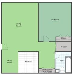 1 Bedroom 1 Bath floor plan layout