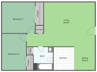 2 bedroom 1 bath floor plan layout