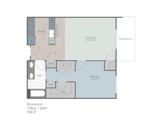 One bedroom floor plan layout