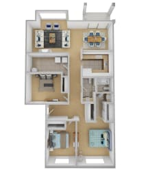 Yarrowood Highlands Apartments 3 Bedroom One and a Half Bath 3D Floor Plan
