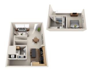 Waterscape at Juanita Village Apartments A1BT Floor Plan