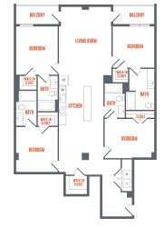 Legacy West End Apartments D1 Floor Plan