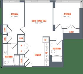 Legacy West End Apartments B13 Floor Plan