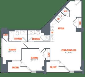 Legacy West End Apartments B8 Floor Plan