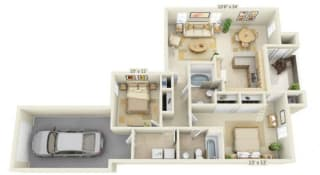Stoneridge Apartments Bluestone 2x2 Floor Plan 994 Square Feet