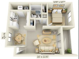 Rolling Hills Apartments 1x1 Floor Plan A 646 Square Feet