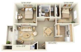 Maple Pointe Apartments Silver Maple 2x1 Floor Plan 837 Square Feet