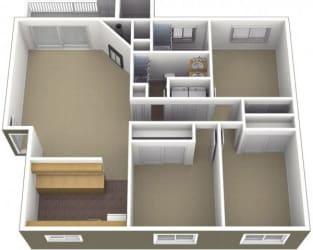 Riverwood Apartments 3x2 Floor Plan 1200 Square Feet