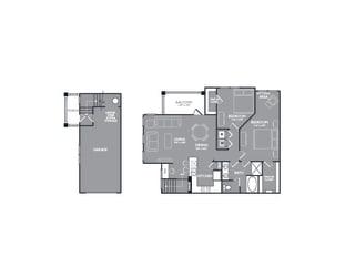 Two Bed One Bath Floor Plan at Mansions at Briggs Ranch, San Antonio, Texas
