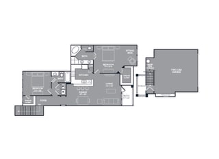 Two Bed Two Bath Floor Plan at Mansions at Briggs Ranch, Texas
