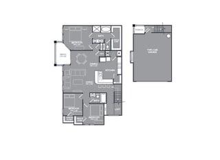 Three Bed Two Bath Floor Plan at Mansions at Briggs Ranch, San Antonio, TX, 78245