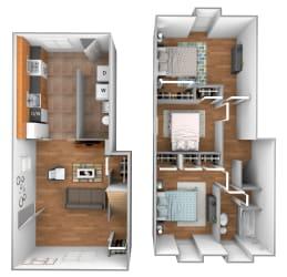 3 bedroom 1 bathroom end unit floor plan at Kingston Townhomes in Essex, MD