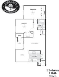 b1 2 bedroom affordable floor plan at Parklane Apartments