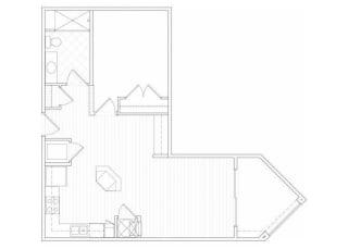 One bedroom one bathroom A6 floorplan at 1160 Hammond Apartments in Sandy Springs, GA