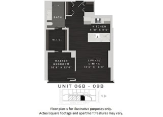 Unit 06b-09b Floor Plan at 640 North Wells, Chicago, Illinois