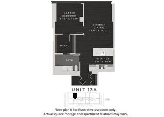 Unit 13A Floor Plan at 640 North Wells, Illinois, 60654