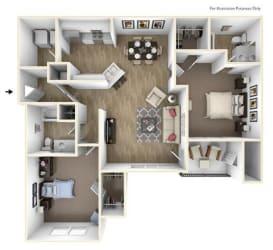 Floor Plan 2 Bedroom 2 Bath 1143 sqft (B1r)