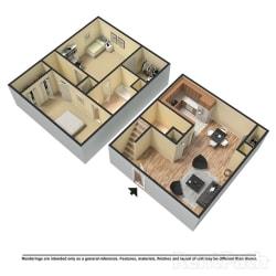 Floor Plan 2 Bed | 1.5 Bath C Townhome