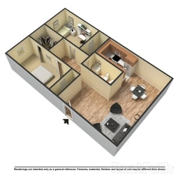 Floor Plan 2 Bed   1.5 Bath A