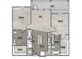 2D Two Bedroom Two Bath 1033-1151 sf at The Westhouse, Fort Worth, TX  76244