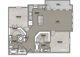 2D Two Bedroom|Two Bath 1213 sf at The Westhouse, Fort Worth, TX  76244