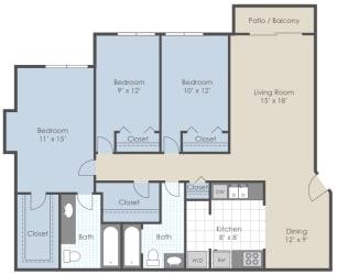 Floor Plan 3 Bed 2 Bath