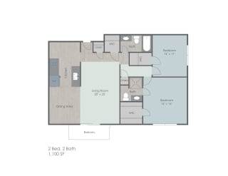 Two bedroom two bath apartment floor plan layout