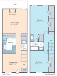 Floor Plan 2 BR Townhouse