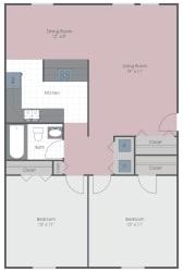 2 Bed 1 Bath 960 sq ft floor plan image