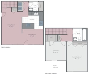 2 Bedroom 1.5 Bath 1100 sq ft floor plan image