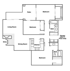 3 Bed 2 Bath B Floor Plan at Elevate at Discovery Park, Tempe, Arizona