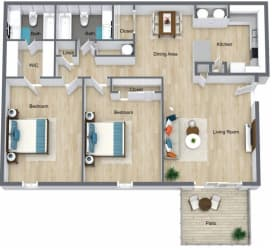 Floor Plan 2 Bed | 2 Bath