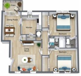 Floor Plan 2 Bed | 1.5 Bath
