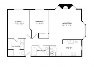 Bayview Apartment Homes Federal Way, Washington 2 Bedroom 2 Bath Floor Plan